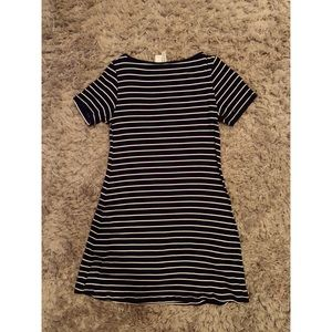 Navy and White Stripped T-shirt  Dress